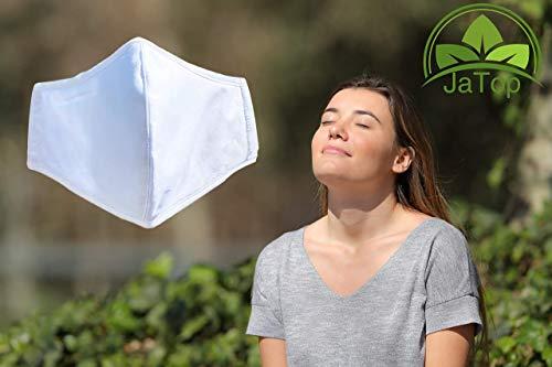 JaTop Mund-und Nasen-Maske waschbar 60 Grad aus Baumwolle dreilagig Nano-Technologie NEU mit Soft- Nasenbügel für perfekten Sitz