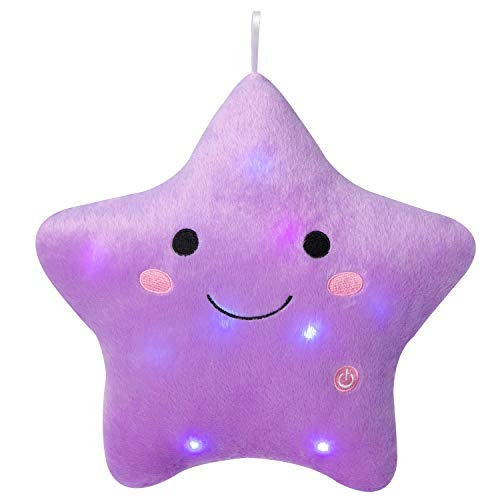 Twinkle Star Plush Pillows Stuffed for Home Deco (Purple)