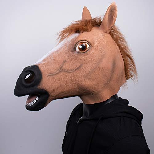 RQQSDHH Animal Caballo Cabeza Cara Cosplay Divertido Cara Completa Caballo Látex Casco Fiesta De Halloween Accesorios De Disfraces