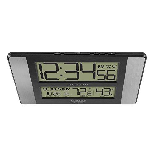 La Crosse Technology 513-1417H-AL-INT Atomic Clock with Temperature & Humidity, Grey/Black