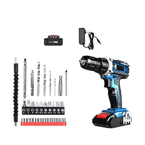 XDXDO 21V Brushless Cordless Lithium Electric Drill Portable Professional Impact Driver/Hammer Drill with 29 Accessories And 2 Sets of 2.0Ah Batteries, Torque: 48Nm, 18+1 Adjustment, 2 Speeds