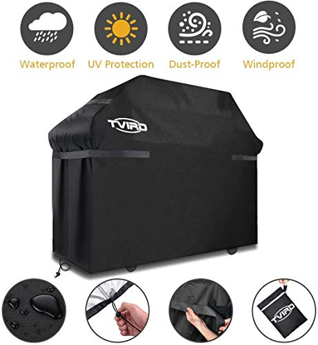 BBQ Grill Cover, Tvird Gas Grill Covers | 58-inch Light Duty Waterproof BBQ Cover | Fits Grills for Weber Char-Broil Nexgrill Brinkmann, Windproof, Rip-Proof, Weather & UV Resistant with Storage Bag