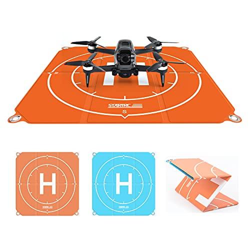 O\'woda Drone Landing Pad 50×50cm, Universale Tappetino da atterraggio PU Design a Doppia Faccia Pieghevole Portatile Impermeabile per DJI FPV/ Mini 2/Mavic Air 2S/ Mini/PRO Accessori (Arancione e Blu)