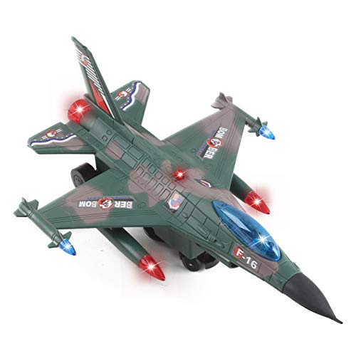 Vokodo Army Air Force Fighter Jet F-16 Toy Military Airplane With Fun Lights And Sounds Bump And Go Action Pretend Play Kids Aircraft Bomber Plane Great Gift For Preschool Children Boys Girls Toddlers