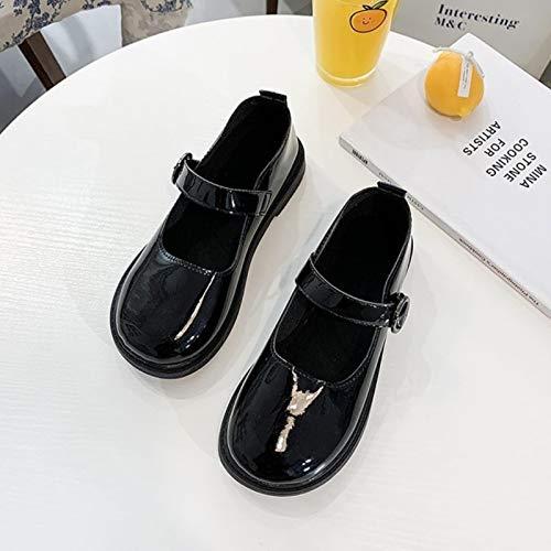 DQS Primavera otoño Lolita Zapatos Hebilla Mary Janes Zapatos Charol Mujer Superficial Zapatos Planos niñas