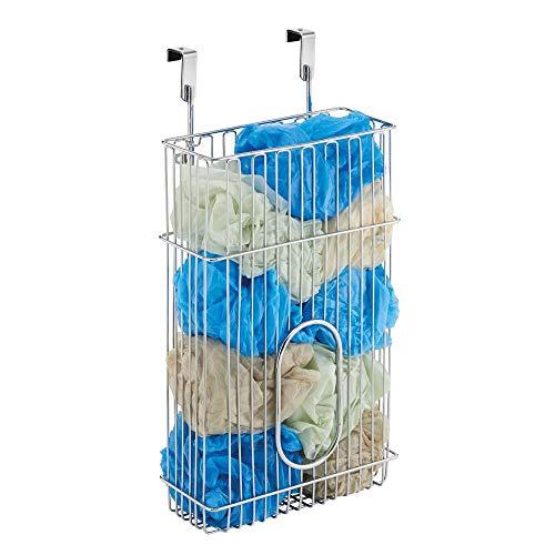 mDesign Aufbewahrungskorb 'Classico' für Müllbeutel und Tüten – praktischer Regalkorb aus Stahl in Chromoptik – einfach zu montierender Schrankkorb zum Einhängen
