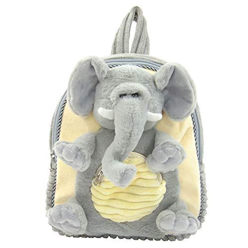 Kögler 85413 Pluche rugzak, voor kinderen, olifant, pluizig zacht, met draaggreep en in lengte verstelbare draagriem, ca. 35 cm groot, voor jongens en meisjes, grijs/beige
