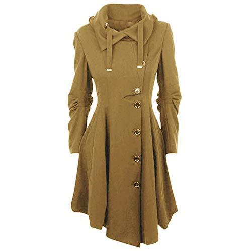 Janly Clearance Sale Abrigo para mujer, de lana sintética para mujer, abrigo grueso, para invierno, Navidad, color dorado y XXL
