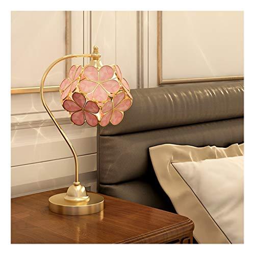 Alle Kupfer Tischlampe Glas Petal Lampshade Modern Luxury Schlafzimmer Nachttischlampe Push Button Switch (Color : Pink)