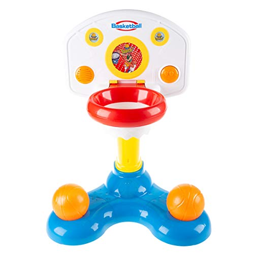 Hey! Play! Kids Basketball Hoop- Mini Backboard System with 2 Height Settings, Interactive Sounds & Lights and Two Balls for Baby & Toddlers