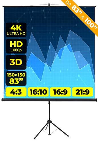 Schermo Proiettore Provis Treppiede (83 Pollici) 150cm (150x150) Formato 4:3 16:9 16:10 Leggero 1 Metro e Mezzo Schermo Proiezione 1mt Telo Proiettore Videoproiettore Videoproiezione 2 mt 4K HD