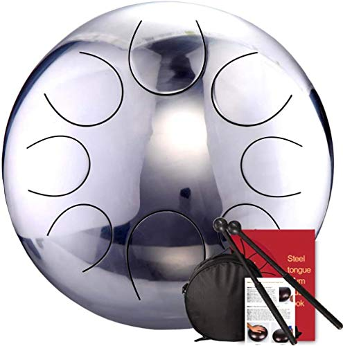 Los tambores de acero Lengua de espejo del tambor de acero etéreo tambor de 12 pulgadas, Do Mayor mano del tambor for principiantes Instrumentos de percusión con el palillo / Mochila, 8Notes para adul