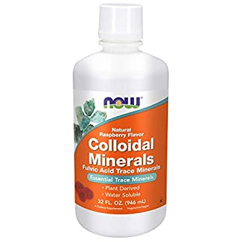 NOW Supplements Colloidal Minerals Liquid Plant Derived Rasberry 32-Ounce