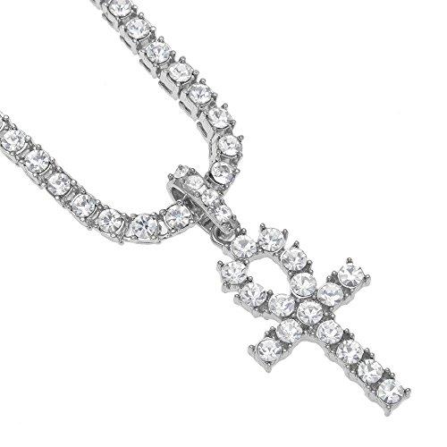 Anhänger Halskette Männer Frauen Hip Hop Schmuck Bling Strass Kristall Schlüsselkreuz (26inch Silber)