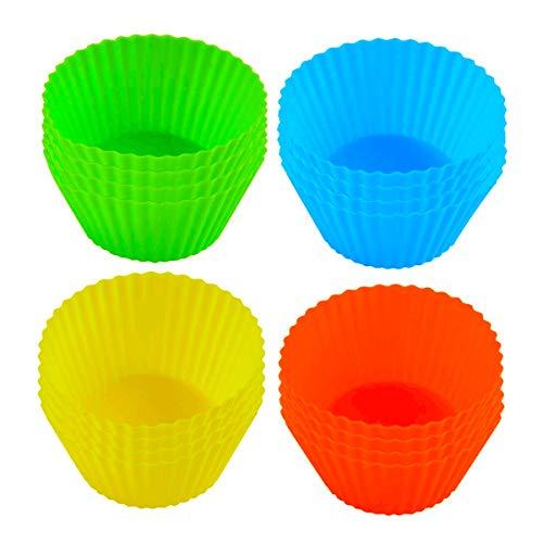 16 Mini Moldes para Magdalenas Papel Cupcakes, Moldes de Papel para Hornear Silicona, No pegajoso Reutilizables Pastelitos y Chocolates - Tartaletas Hornear Pastel Tarta Cocina (Varios colores)