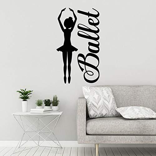 Ballet girl tatuajes de pared dancing girl dance studio dancer dormitorio palabra decoración del hogar vinilo etiqueta de la pared arte mural