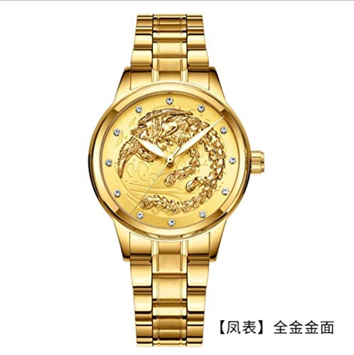 Powzz ornament Reloj de pulsera impermeable dorado cuarzo ultra fino correa de acero Dragon Phoenix Couple Watch-W