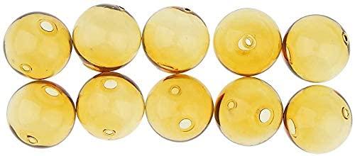 Bola de cristal de Navidad de 10 piezas Bola de botella de vidrio con 2 orificios para manualidades de collar de pendientes de bricolaje - Ámbar