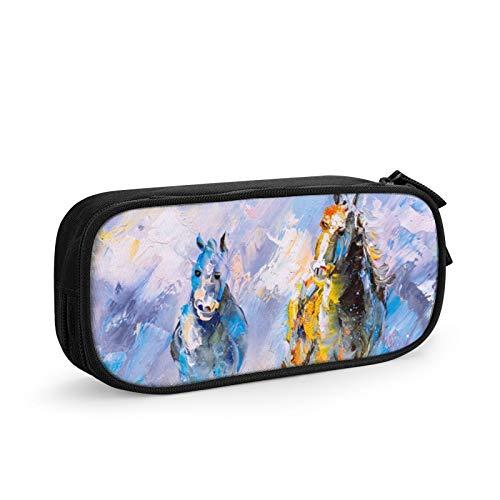 Estuche organizador de escritorio con cremallera para pintura al óleo de caballo para correr y suministros de oficina, 21 x 10 x 5 cm