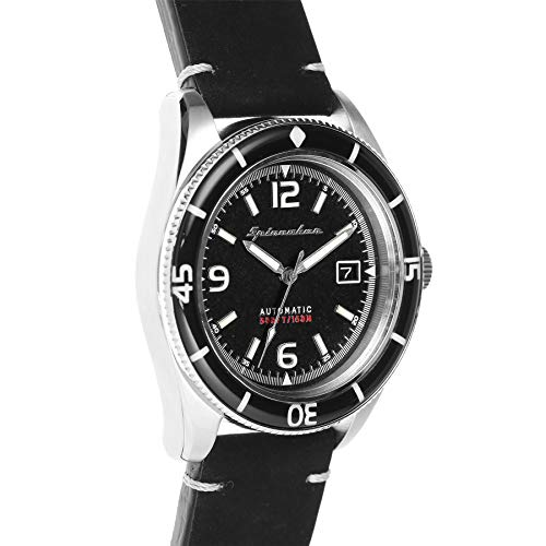 SPINNAKER Men's Fleuss 43mm Leather Band Steel Case Automatic Watch...