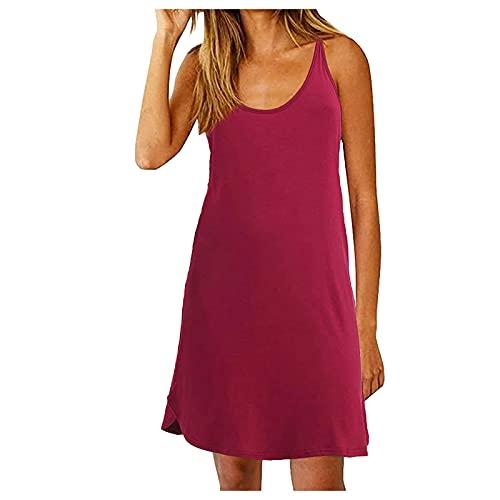 Women T Shirt Dresses Casual Spaghetti Strap T Back Dress Swing Summer Tank Dress Beachwear for Beach Party
