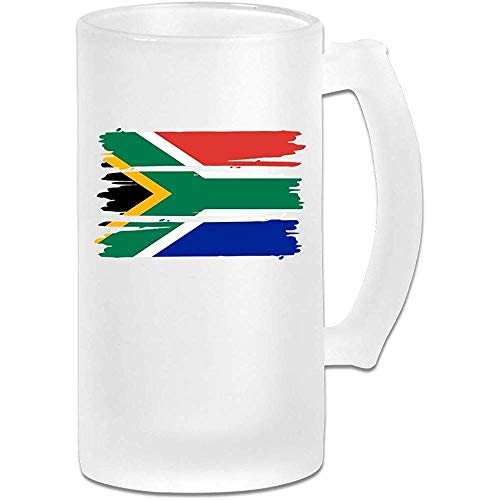 NHJYU Boccale di Birra South African Flag Frosted Glass Stein Beer Mug - Personalized Custom Pub Mug- Gift for Your Favorite Beer Drinker