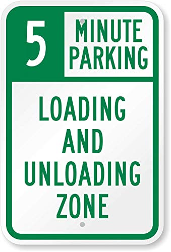 5 Minute Parking,Loading and Unloading Zone,16 x 12 Inch Warning Traffic Notice Road Safety Street Metal Tin Sign