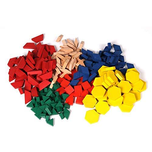 hand2mind Wood Pattern Blocks for Kids, Shapes for Kindergarten, Montessori Toys, Geometric Shapes, Symmetry, Shape Recognition, Pattern Blocks for Classroom (Set of 250)