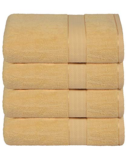 700 GSM Premium Cotton 4-Pack Bath Towel Set - 100% Combed Cotton - 4 Bath Towels 27x54 - Luxury Hotel & Spa Quality - Durable Ultra Soft Highly Absorbent - Yellow