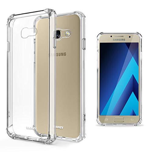 Moozy Funda Silicona Antigolpes para Samsung A5 2017 - Transparente Crystal Clear TPU Case Cover Flexible