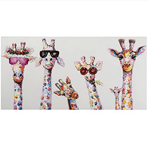 Pintura colorida del cartel de la familia de los animales de la jirafa para la imagen del arte de la pared del niño carteles de la decoración del hogar de la sala de estar pintura al óleo