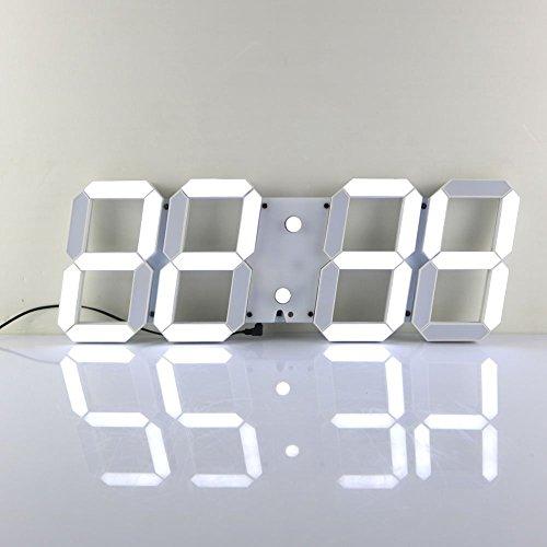 Redlution Große LED Uhr Wanduhr Fernbedienung Jumbo großen Zahlen 3D Entwurf Digitale Wecker mit Thermometer, Kalender, Snooze, Alarm, Countdown, Stunden/Minuten (Weiße)