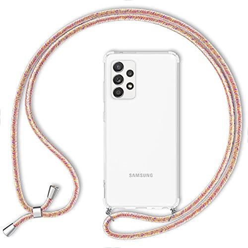 NALIA Carcasa con Cuerda Compatible con Samsung Galaxy A52 5G / A52 Funda, Transparente Hardcase & Correa Colgante para Colgar, Protectora Cover & Cordon para Llevar en Cuello, Color:Arco Iris