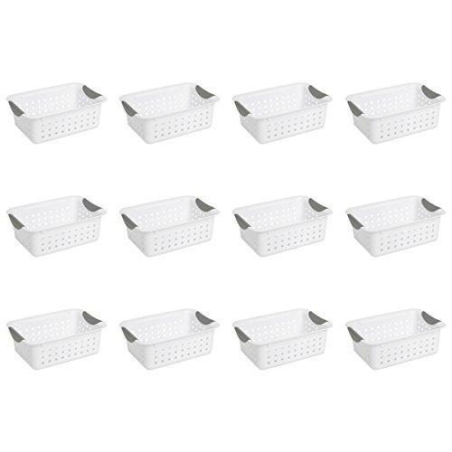 Sterilite 16228012 Small Ultra Basket, White Basket w/ Titanium Inserts, 12-Pack