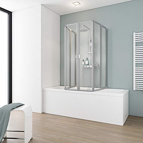 Ihr Wunschmaß, Schulte Duschabtrennung faltbar für Badewanne, einfacher Aufbau, Kunstglas Softline hell, alunatur, langlebig, D170099 01 01