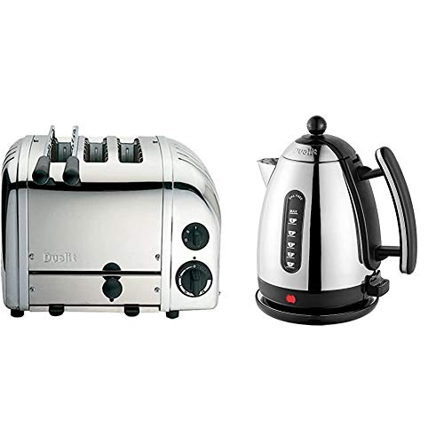 Dualit 3 Slice Combi Toaster Polished Stainless Steel 31213 & Lite Kettle | 1.5 L 2.4 kW Jug Kettle | Polished with Black Trim, High Gloss Finish | Fast Boiling Kettle by Dualit | 72010