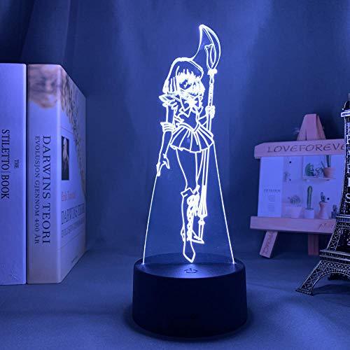 3D Nacht Lampe Illusion Lampe Osterdeko Led Light Anime Sailor Saturn for Kids Bedroom Decor Night Light Brithday Gift Room Desk Acrylic 3d Lamp Sailor Moon Manga ZMSY
