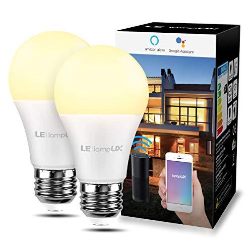 LE 9W Smart E27 LED Lampen, Warmweiß, Dimmbar LED Leuchtmittel, WLAN LED Birnen, Ersatz für 60W glühbirne, kompatibel mit Alexa und Google Home, Kein Gateway erforderlich, 2 Pack