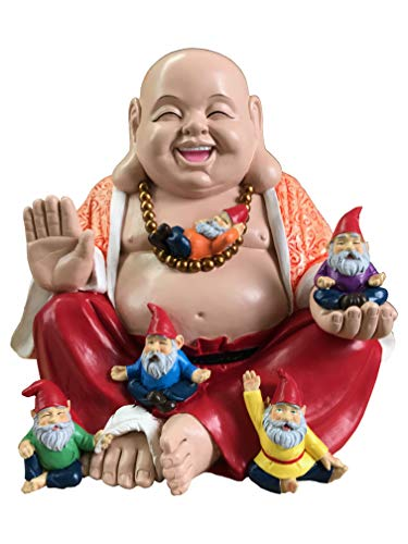 by Mark & Margot - Mischievous Cat Garden Gnome Statue Figurine - Best Art Décor for Indoor Outdoor Home Or Office (One Size, Buddha Gnomes)