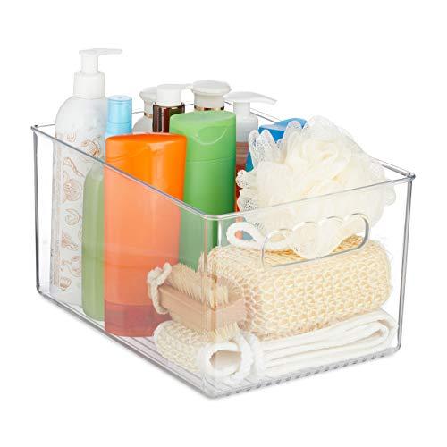 Relaxdays Küchen Organizer, Lebensmittel Aufbewahrung, mit Griffen, Kunststoff, HBT: 15,5 x 29 x 20,5 cm, transparent, 1 Stück