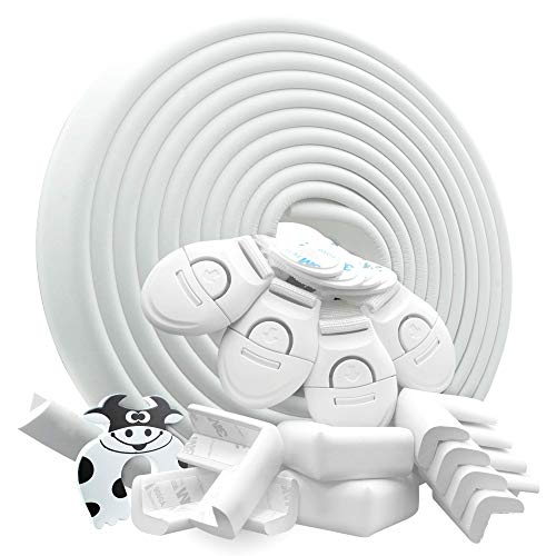 DEASANA® Protector Esquinas Bebé Blanco 7 Metros Total 1 Rollo Protector Para Esquinas Y Bordes Bebé 8 Cantoneras Protectores De Esquina Bebé Tope Puerta Cerraduras De Securidad Niños [Marfil Blanco]