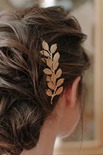 Anglacesmade Peineta para el pelo de hojas doradas, para fiestas de graduación,...