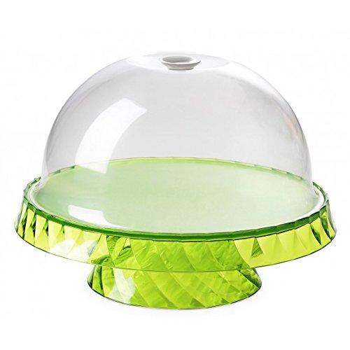 Montefioredesign – Présentoir pour gâteaux et fruits, diamètre 36 cm, avec cloche de couleur verte