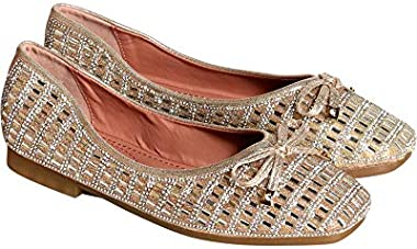 Italina Womens Casual/Dressy Slip On Super Soft Rhinestone Ballet Flat Shoes