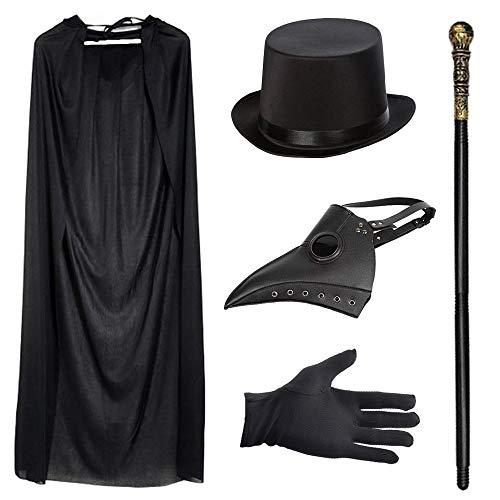Disfraz de mdico de la peste negra, retro, con antifaz con pico de ave de piel, con chistera negra, bastn, capa negra con capucha, guantes negros