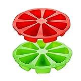Stampo da forno a forma di triangolo a 8 cavità, in silicone, per torte, sapone, fetta di pizza e focaccine (rosso e verde)