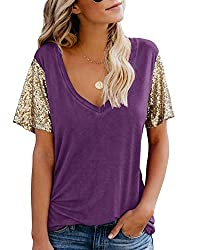 B-Purple Sequin Short Sleeve Tee V Neck Loose Blouse