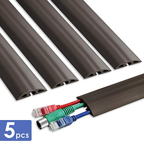 Floor Cable Cover - 15.7in x 5 Durable Cord Cover for Floor, Total 6.5ft Cord Protector - Low Profile PVC Duct - Flexible 3 Channel Wire Cover for Office Home Doorway, W2in H0.5in, Dark Brown