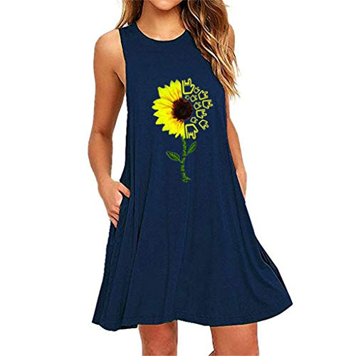 New Women's Summer Sleeveless Mini Dress,Ladies Sunflower Printed Plus Size A Line Dress with Pocket