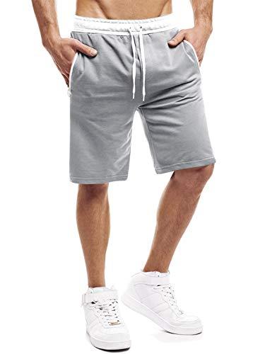 Yidarton Shorts Herren Sport Sommer Kurze Hosen Joggen und Training Shorts Fitness Jogging Hose Bermuda Reißverschlusstasch (Hellgrau, M)